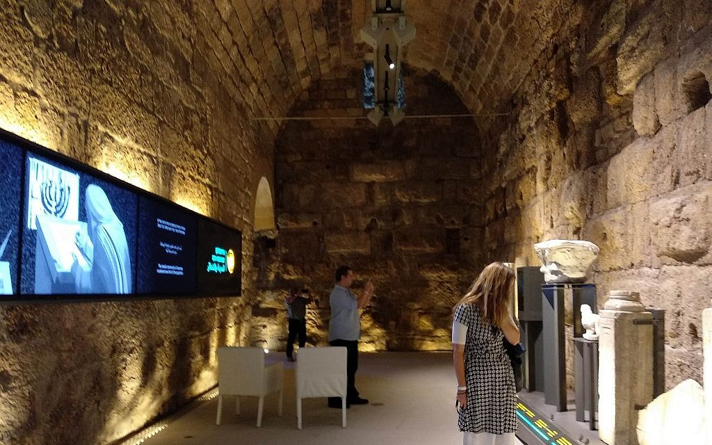 One of the rooms at the new King Herod's Vaults Visitor Center, which opened at the Caesarea National Park on May 29, 2019.  (Melanie Lidman/Times of Israel)