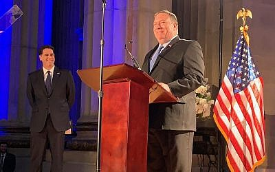 US Secretary of State Mike Pompeo addresses Israel's 71st Independence Day Celebration at the Andrew W. Mellon Auditorium in Washington, DC on May 22, 2019 (Eric Cortellessa/Times of Israel)