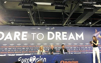 Zivit Davidovitch (far left), Jon Ola Sand and and Yuval Cohen at Eurovision's press conference on May 13, 2019, prior to the first semifinal on May 14 (Jessica Steinberg/Times of Israel)