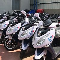 Motorbikes lined up for delivery at the Tel Aviv garage of Blitz Motors, a maker of electric and fast motorbikes April 2, 2019 (Shoshanna Solomon/Times of Israel)
