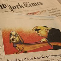 A caricature of Prime Minister Benjamin Netanyahu and US President Donald Trump published in The New York Times international edition on April 25, 2019, which the paper later acknowledged 'included anti-Semitic tropes.' (Raoul Wootliff/Times of Israel)