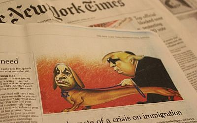A caricature of Prime Minister Benjamin Netanyahu and US President Donald Trump published in The New York Times international edition on April 25, 2019, which the paper later acknowledged 'includedanti-Semitic tropes.' (Raoul Wootliff/Times of Israel)