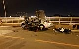 Wreckage of a car after a suspected mob-related bombing in Hadera, May 15, 2019 (Israel Police)