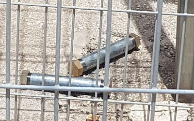 Two pipe bombs a Palestinian suspect alleged tried to smuggle into the Samaria military courthouse, May 30, 2019. (Israel Police)