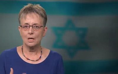 Screen capture from video of Leah Goldin speaking about her son Hadar, an IDF soldier killed in combat and whose remains are held in the Gaza Strip, May 7, 2019. (YouTube)