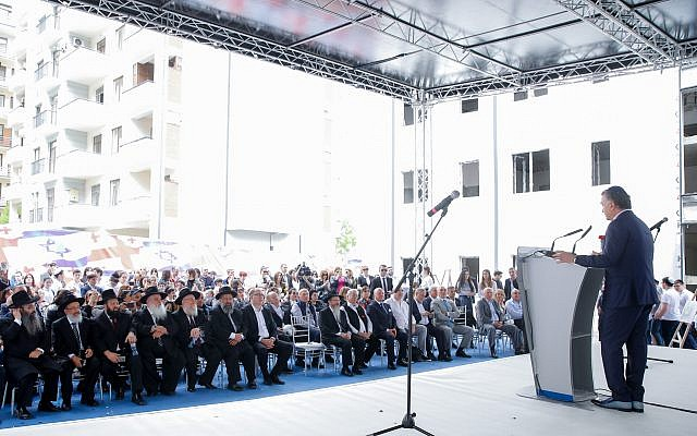Michael Mirilashvili attending the opening of a new educational complex in Tblisi, Georgia on April 28, 2019. (Courtesy of the Euro-Asian Jewish Congress)