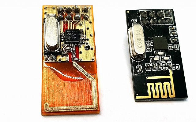 Nano Dimension manufactures electronic products using 3D printing. The image compares a 3D-printed transceiver, right, with-a-traditional-transceiver (Courtesy)