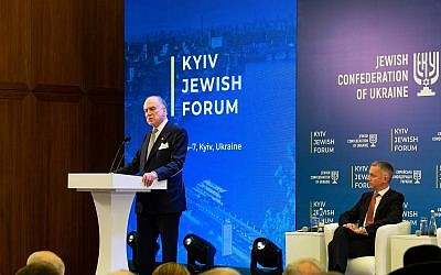 Ronald S. Lauder, president, World Jewish Congress, speaks at the Kyiv Jewish Forum alongside Boris Lozhkin, president, Jewish Confederation of Ukraine. (Courtesy)