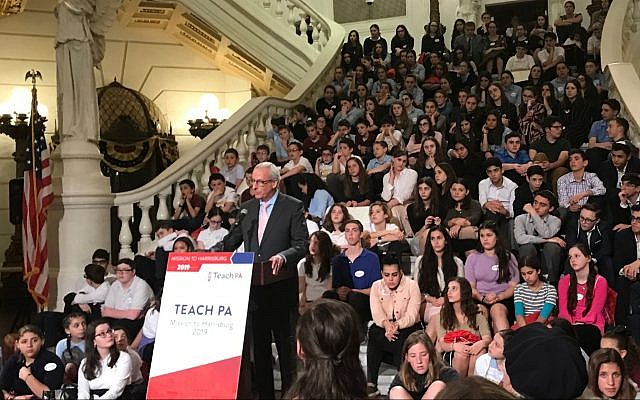 Jewish day school students meet with Pennsylvania state Rep. Dan Frankel to discuss state security funding for non-public schools, May 8, 2019 (Courtesy of Teach PA)