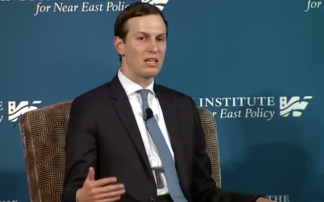 Jared Kushner speaks at the Washington Institute for Near East Affairs, May 2, 2019 (Washington Institute screenshot)