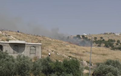 A fire apparently started by an Israeli settler outside the Palestinian village of Burin in the northern West Bank on May 17, 2019. (B'tselem)