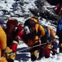 Climbers in a line headed to the summit of Mount Everest, May 2019 (YouTube screenshot)
