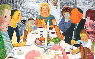 Detail from 'Seder,' painted in the United States by French-born artist Nicole Eisenman. (The Jewish Museum, New York, Purchase: Lore Ross Bequest; Milton and Miriam Handler Endowment Fund; and Fine Arts Acquisitions Committee Fund, 2011-3 © Nicole Eisenman)