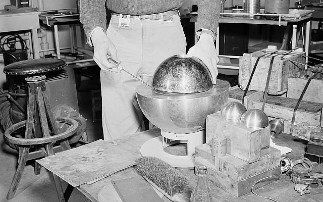 Illustrative. A plutonium core from the Los Alamos National Laboratory in the United States in 1946. (US government/Wikimedia)