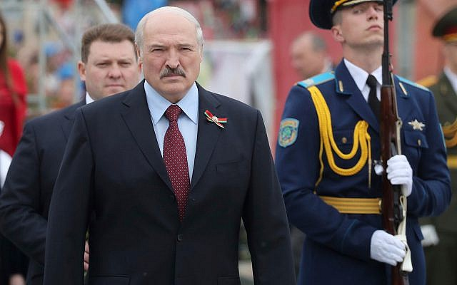 Belarusian President Alexander Lukashenko attends a wreath-laying ceremony marking 74 years since the victory in WWII, in Minsk, Belarus, May 9, 2019. (Maxim Guchek/BelTA Pool Photo via AP)