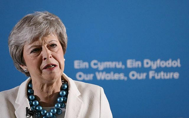 Britain's Prime Minister Theresa May in Llangollen, Wales, May 3, 2019. (Aaron Chown/PA via AP)
