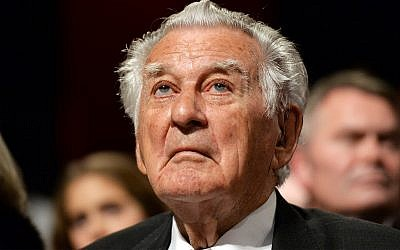 Australia former Prime Minister Bob Hawke listens during a campaign launch in Sydney, Sunday, June 19, 2016. (Mick Tsikas/Pool Photo via AP)