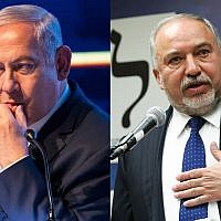 Prime Minister Benjamin Netanyahu, left, and Yisrael Beytenu head, Avigdor Liberman, right. (Flash90)