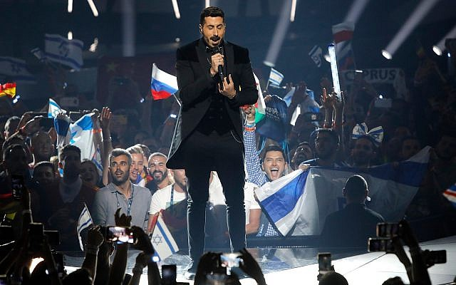 "Kobi Marimi of Israel performs the song ""Home"" during the 2019 Eurovision Song Contest grand final in Tel Aviv, May 18, 2019. (AP Photo/Sebastian Scheiner)"