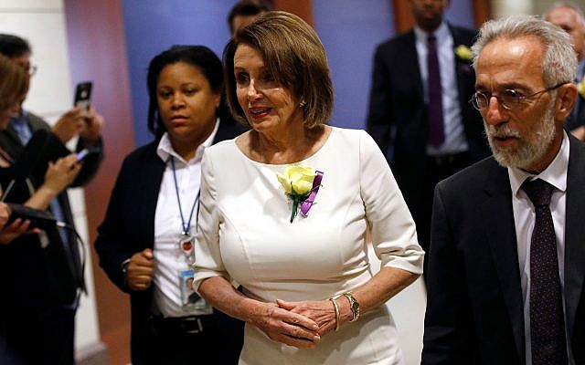 House Speaker Nancy Pelosi of Calif., arrives for briefing on Iran, May 21, 2019, on Capitol Hill in Washington. (AP Photo/Patrick Semansky)