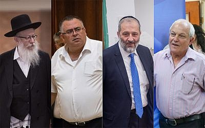 (L-R) Deputy Health Minister and United Torah Judaism leader Ya'akov Litzman; Likud MK and former coalition chairman David Bitan; Interior Minister and Shas leader Aryeh Deri; and Likud Welfare Minister Haim Katz. (All photos by Flash90)