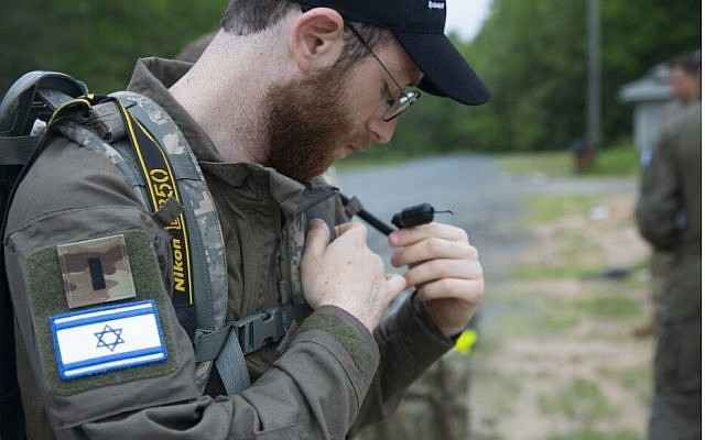 Lt. Netanel Ben-Ami takes part in a US military combat photography competition in Quantico, Virgina, in May 2019. (Israel Defense Forces)