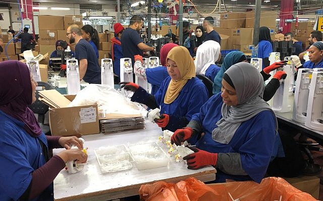 Women working at SodaStream's factory in Rahat on May 27, 2019. (courtesy SodaStream)