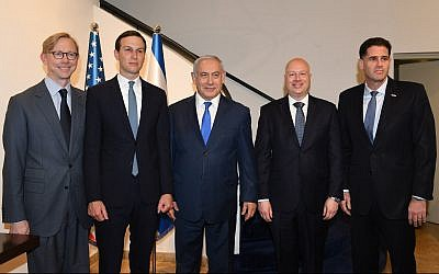 (L-R) Brian Hook, US special representative for Iran, Trump adviser Jared Kushner, Prime Minister Benjamin Netanyahu, US Mideast peace envoy Jason Greenblatt and Israel's US envoy Ron Dermer, at a meeting at the Prime Minister's Office, in Jerusalem, on May 30, 2019. (Ziv Sokolov/US Embassy Jerusalem)