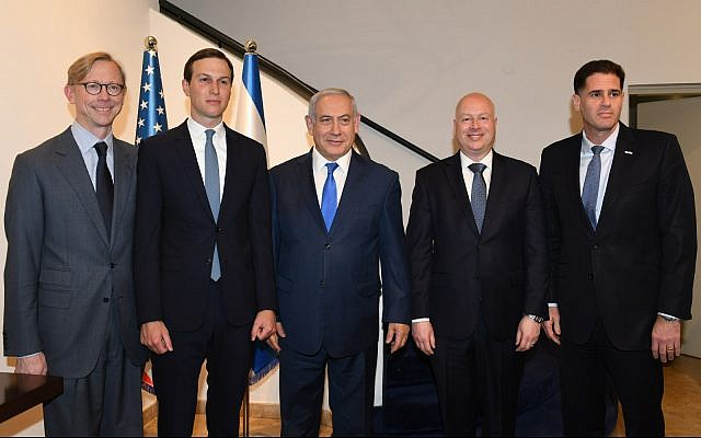 (L-R) Brian Hook, US special representative for Iran, Trump adviser Jared Kushner, Prime Minister Benjamin Netanyahu, US Mideast peace envoy Jason Greenblatt and Israel's US envoy Ron Dermer, at a meeting at the Prime Minister's Office in Jerusalem on May 30, 2019. (Ziv Sokolov/US Embassy Jerusalem)