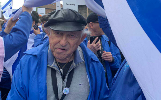 Nate Leipciger participates in the March of the Living at the Auschwitz-Birkenau camp site in Poland, May 2, 2019. (Eynat Katz/courtesy)