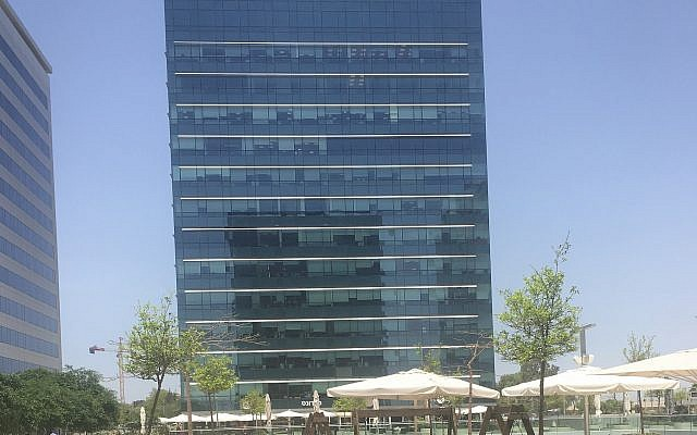 Archimedes Group, the Israeli social media influence company banned by Facebook, operates from offices inside this building in Holon, May 22, 2019 (Times of Israel)