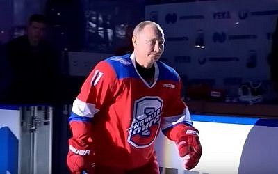 Russian President Vladimir Putin during an ice-hockey game in Sochi, Russia, May 10, 2019 (YouTube screenshot)