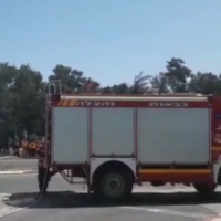 A fire truck seen in Haifa as teams handle a flammable gas leak, May 18, 2019 (Channel 12 screenshot)