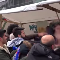An undated video shows a man being attacked at an anti-Israel event in Berlin (Screen grab from Ruptly via YouTube)