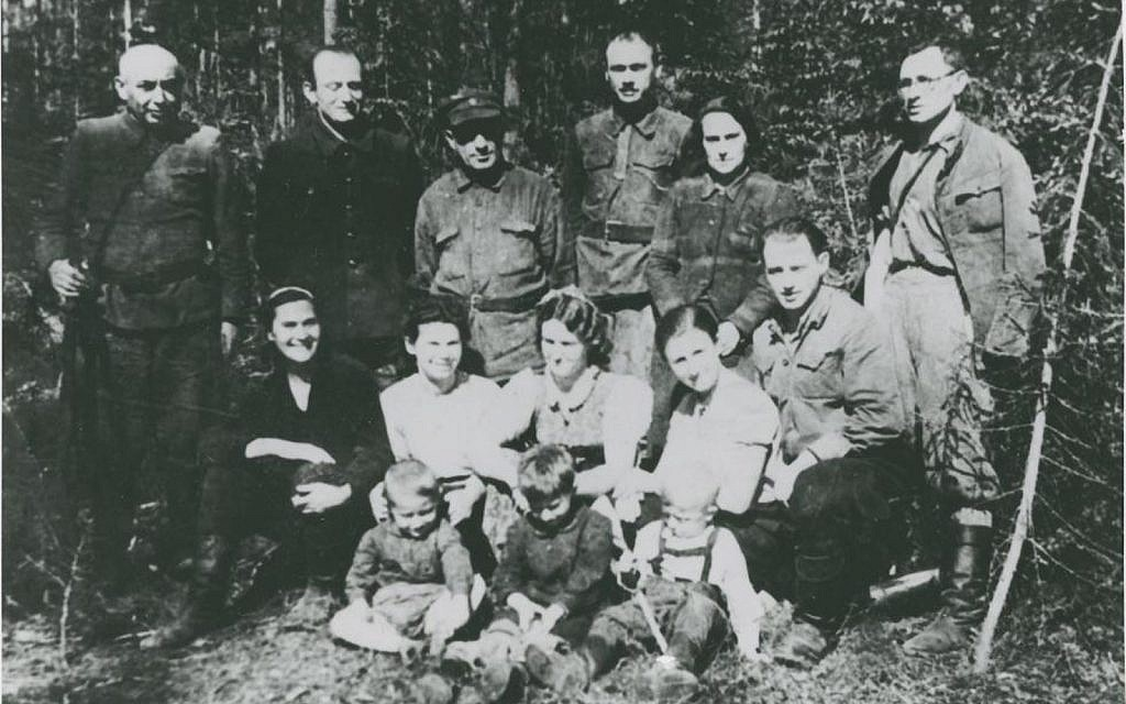 Yehuda Bielski (sitting second row right) with some Bielski Partisans, (Naliboki Forest, Belarus, 1943)