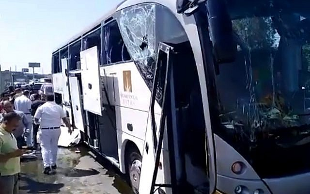 A bus purportedly targeted by a bomb near Egypt's Giza pyramids on May 19, 2019. (screen capture: Twitter)