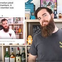 Australian comedian Isaac Butterfield, seen in a  YouTube video he posted April 24, 2019. (YouTube screenshot )
