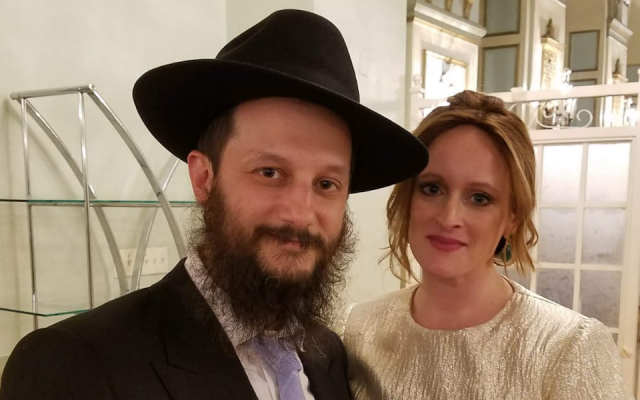 Rabbi Uriel Vigler, shown with his wife Shevy, was harassed just days after the attack on a Chabad synagogue in Poway, Calif. (Courtesy of Vigler/via JTA)