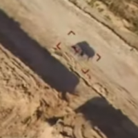 An image from footage released by Palestinian Islamic Jihad on May 30, 2019 purporting to be filed from a drone dropping incendiary bombs on an IDF tank. (Screen capture: Facebook)