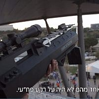 Police sappers armed with anti-drone guns guard the Tel Aviv Fairgrounds during the Eurovision Song Contest on May 18, 2019. (screen capture: Channel 12)