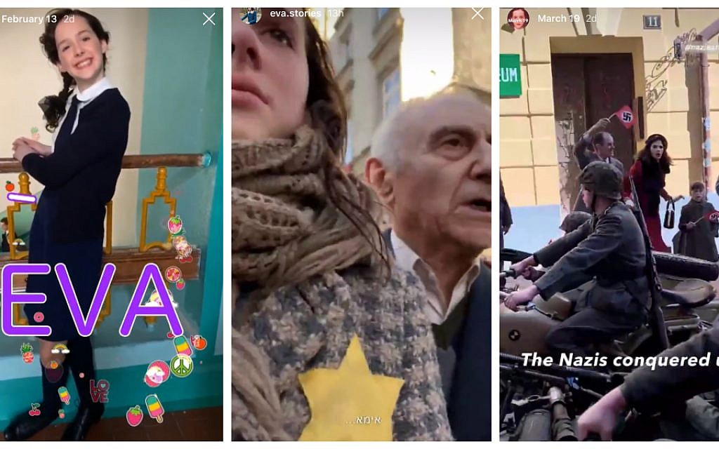 Eva.Stories is a dramatized version of the life of Eva Heyman, a 13-year-old Jewish girl killed in Auschwitz. (Screenshot from Eva.Stories on Instagram via JTA)