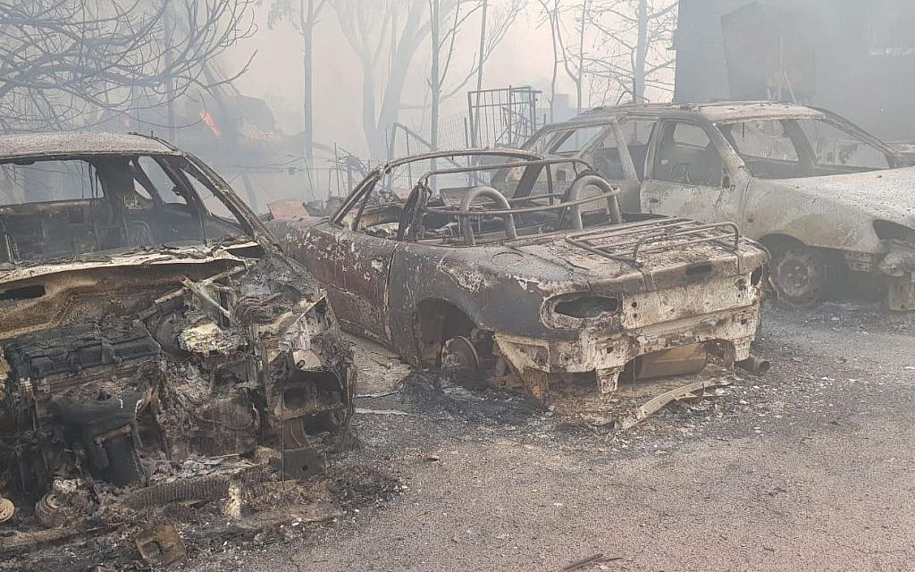Effects of a fire in the central town of Mevo Modi'im on May 23, 2019. (Israel Fire Service)