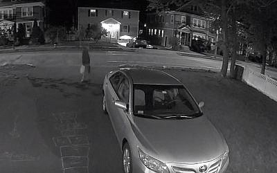Security camera footage shows an individual police want to question in connection with a fire at the home of a rabbi, which serves as a Chabad community center, in Arlington, Massachusetts on May 11, 2019 (Screen grab)