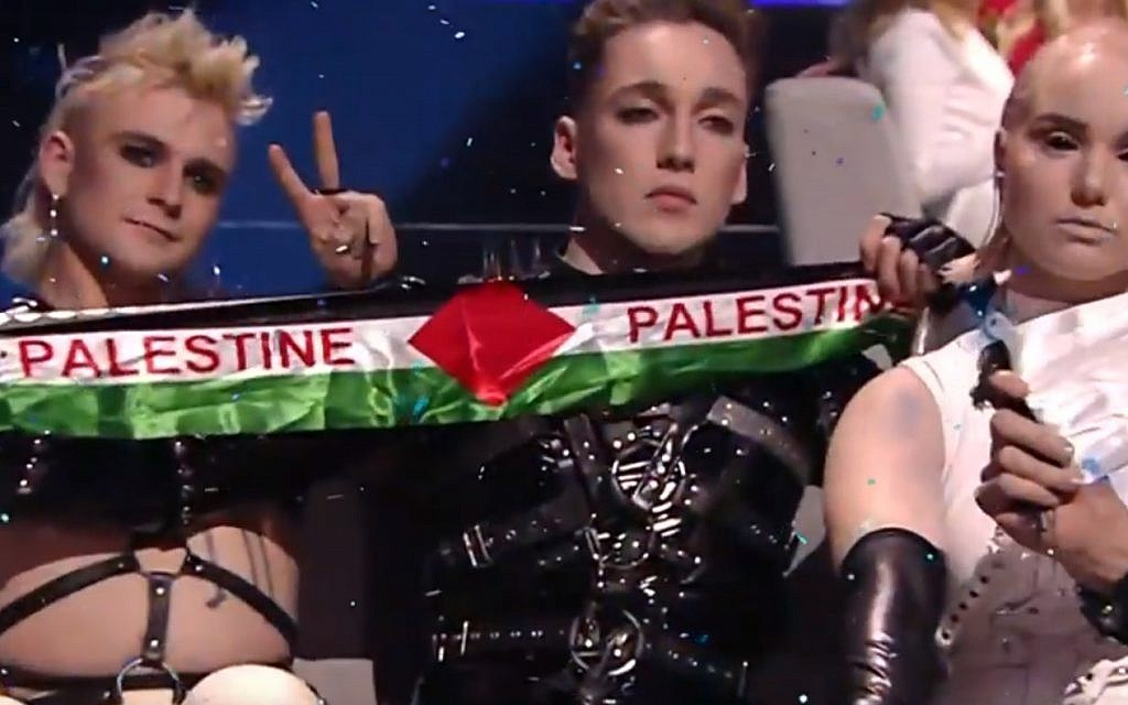 Iceland's Hatari holding up Palestinian flags during Eurovision in Tel Aviv on May 19, 2019. (screen capture: YouTube)