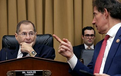 Rep. Jerry Nadler, seated, chairman of the House Judiciary Committee, and Rep. Jamie Raskin at a hearing on Capitol Hill, May 8, 2019. (Chip Somodevilla/Getty Images via JTA)