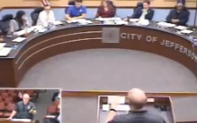 City council leader in Indiana uses the anti-Semitic phrase at a meeting on April 15, 2019 (Screen grab via  Jeffersonville News and Tribune)