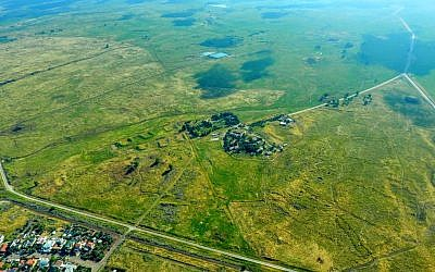 Aerial view of small village of Kela Alon in the Golan Heights, near the site of a new community to be named after US President Donald Trump. (Golan Regional Council)