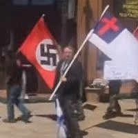 White Supremacists protesting a Holocaust memorial in Russellville, Arkansas, May 5, 2019.  (screen capture: YouTube)