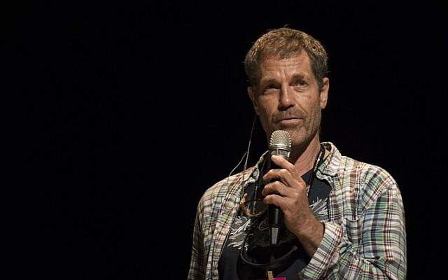Choreographer and Israel Prize winner Ohad Naharin, seen speaking on stage during the final rehearsals for Batsheva's 50th Anniversary performance at the Tel Aviv Opera, June 21, 2014. (Hadas Parush/Flash90)