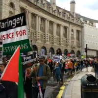 Pro-Palestinian protesters march through London's Regent Street, May 11, 2019. (Twitter video screenshot)